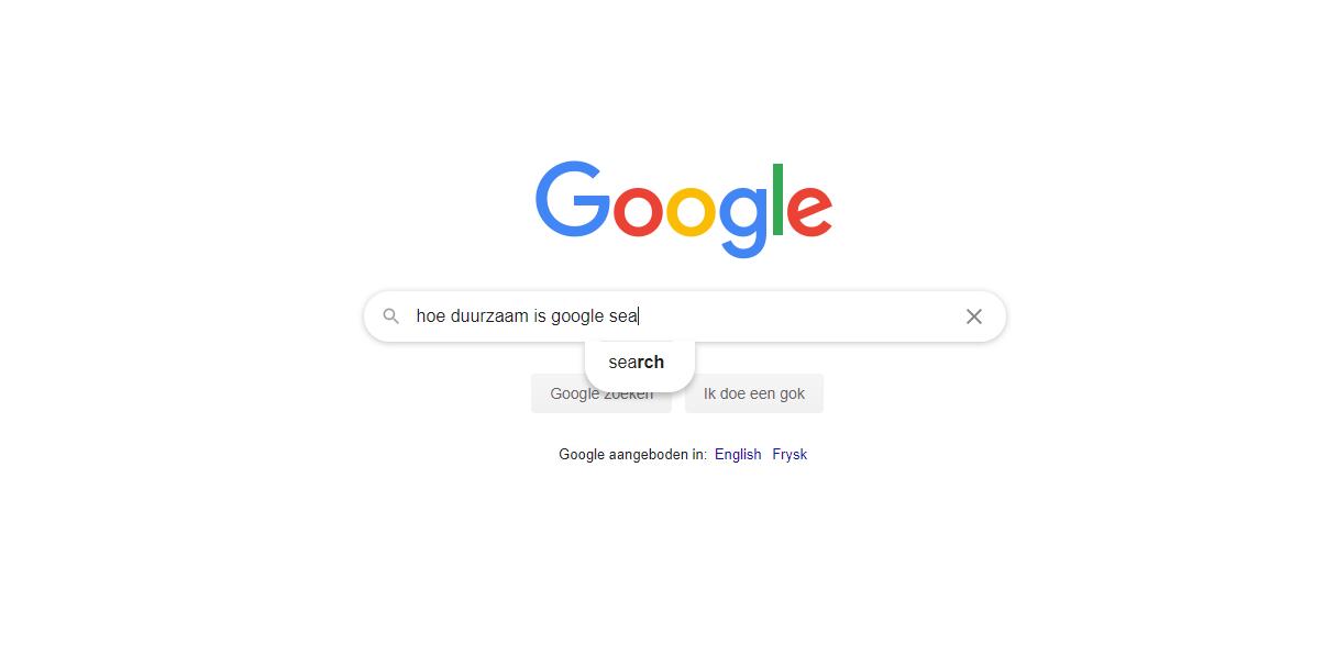 Hoe een simpele Google search negatieve impact heeft op het milieu