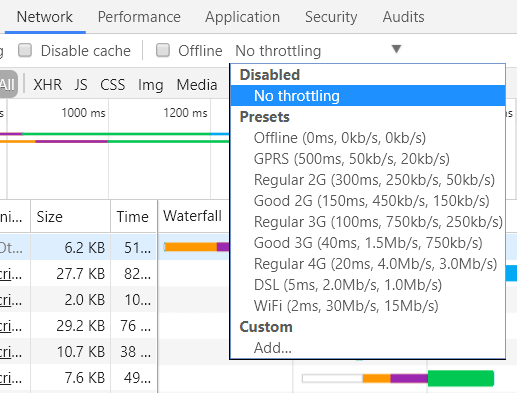 Chromes network throttling optie