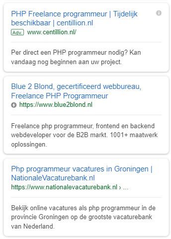 Voorbeeld van een AMP resultaat in de Google zoekresultaten